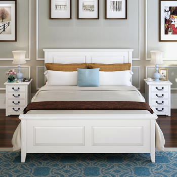 Queen Bed Frame Double Bed High Back Headboards Solid Wood Panel Bed ...