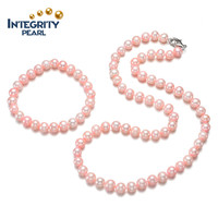 Freshwater 7mm AA off round set pink pearl jewelry
