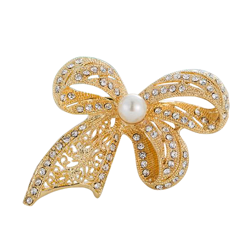 MST HR1017 latest design gold color rhinestone and pearl bow tie shape alloy korean brooch