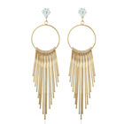 INFANTA JEWELRY European zircon exaggerated anti-allergy girl long metal tassel alloy earring post fashion earring jewelry