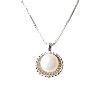 Silver Artificial breeding Freshwater Pearl Shell Pendant Necklace For Women