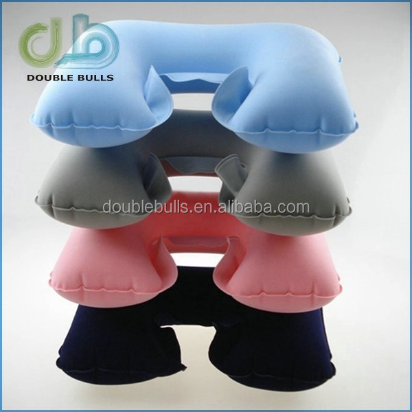 Custom China manufacturer high quality cheapest promotional Inflatable short plush bedding air U pillow