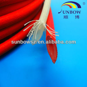Commercial Unit Silicone Rubber Coated Glassfiber Sleeve(Inside Rubber & Outside Fiber)