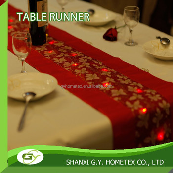 Red LED Light Compand Sequin Table Runner For Christmas
