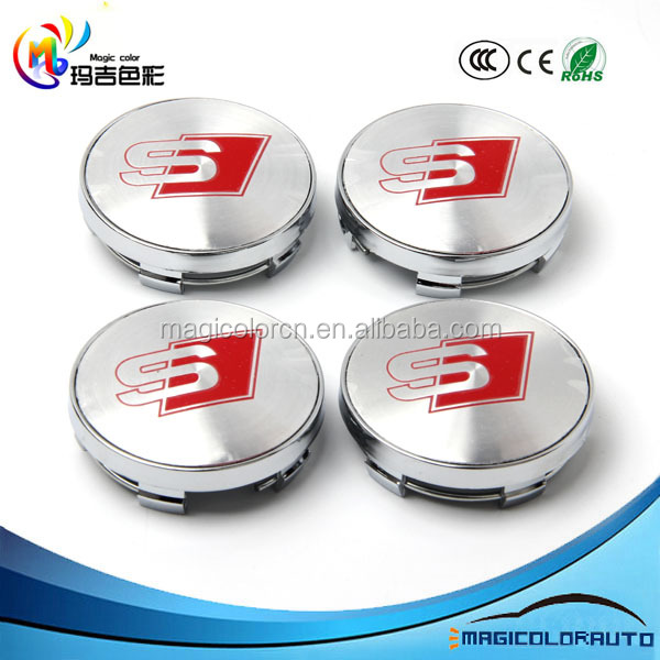 ALLOY WHEEL BADGE CENTRE CAPS for Audi S Line 60mm A3 A4 A5 A6 A7 A8 S3 S4 S5 S6
