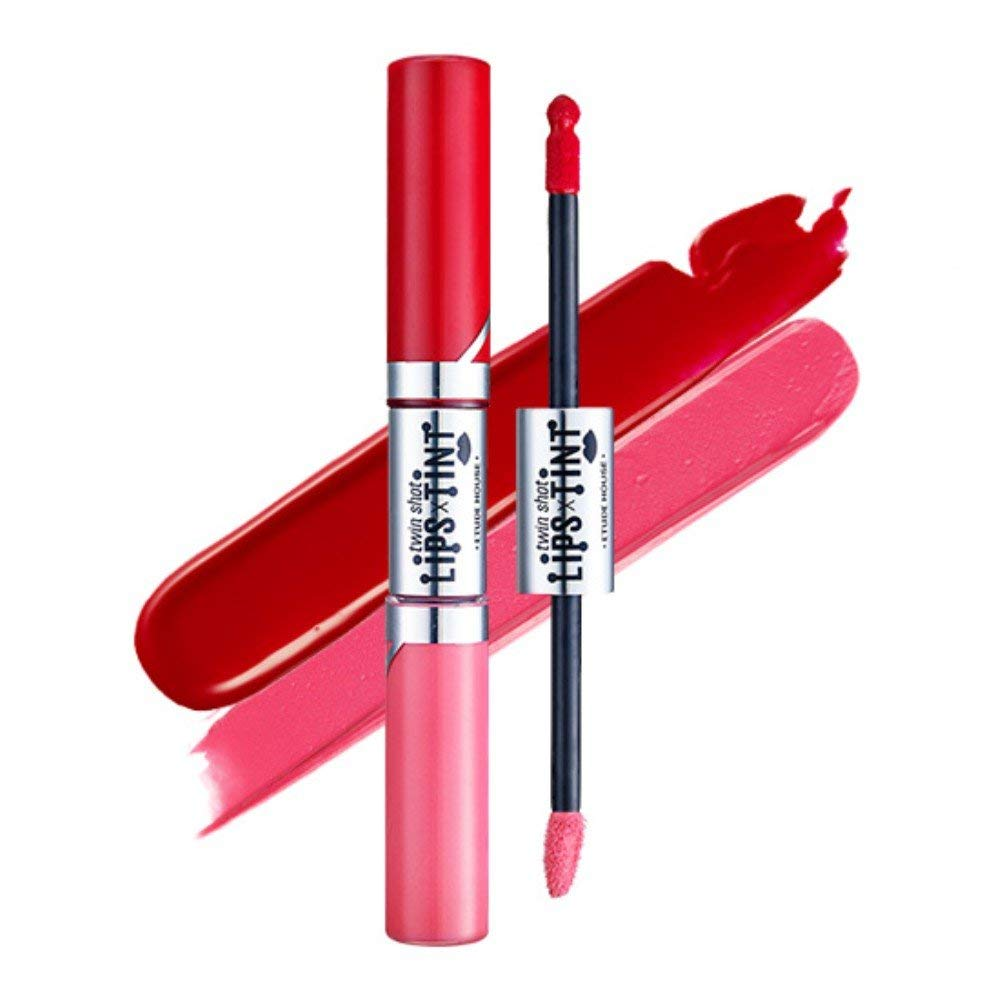 Etude House twin shot LIPS TINT (5g + 2.5g) Twin Lip Tint Gradation (# RD301 Lady x Red Shot)
