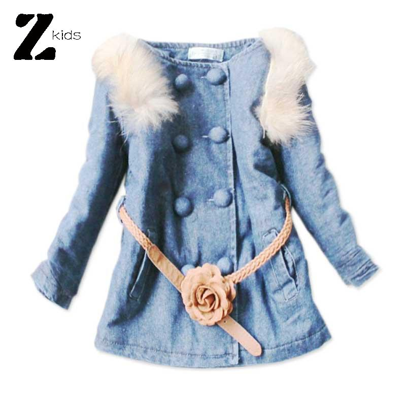Children Girl Denim Jacket Outerwear Baby Coat Fur Collar With Belt 6-8 Years Old Warm Thick Kids Winter Clothes 2015 Retail