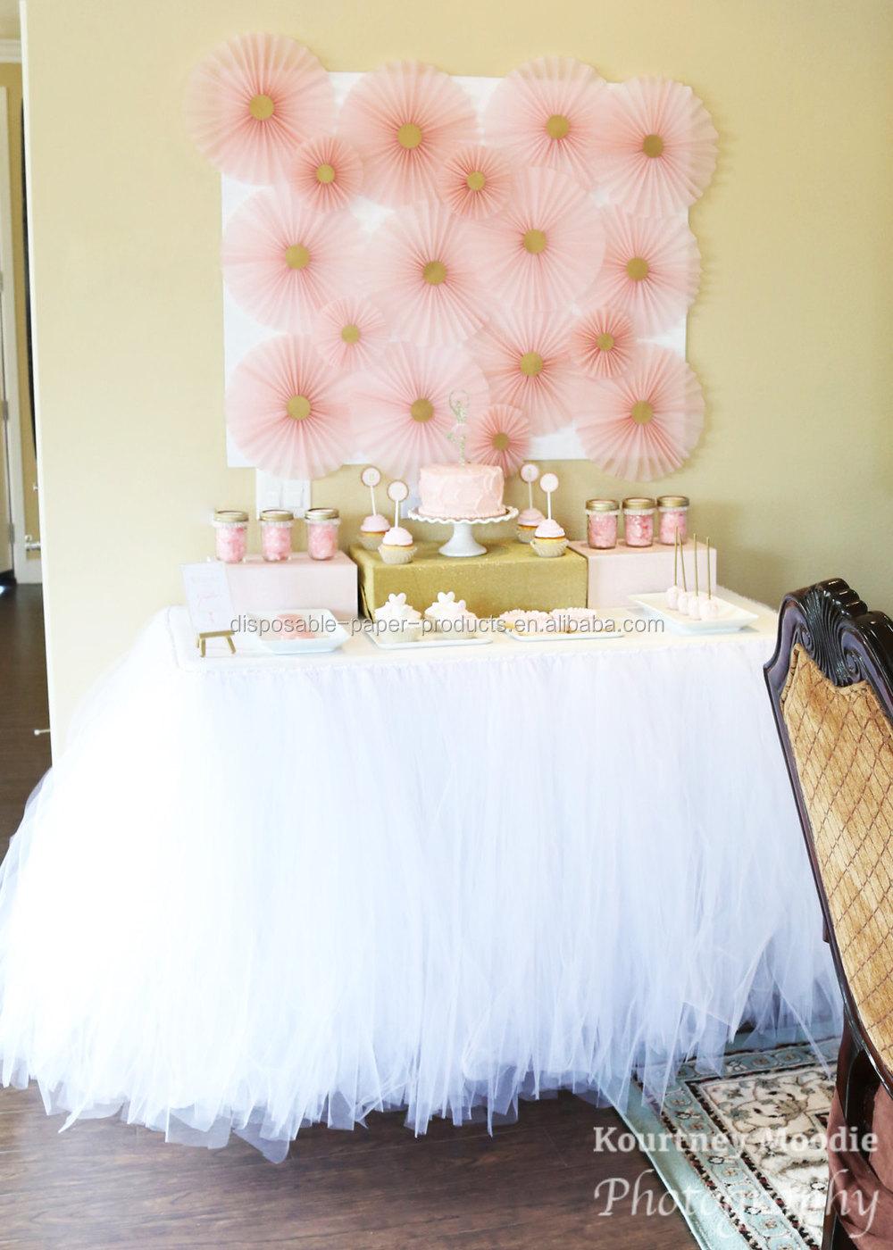 NEW White Tutu Table Skirt Planning Ideas Supplies Tulle Wedding Birthday