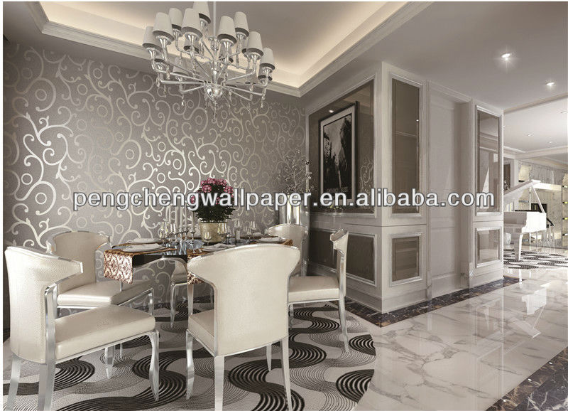Lastest Design Decorative Modern Silver Metallic Wallpaper