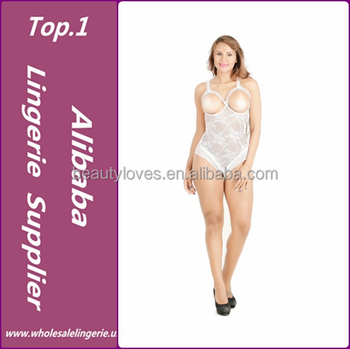 2730935cd840d Mature Women Wearing White Lace Sexy Open Cup Teddy Lingerie - Buy ...
