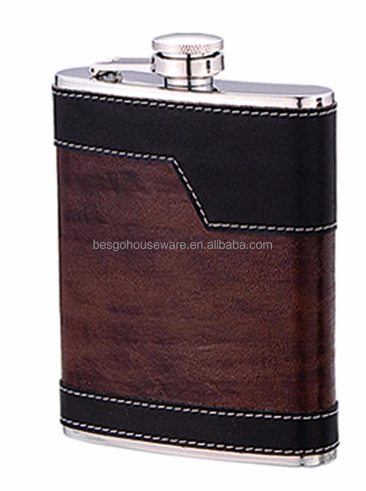 Portable fashion leather Flask 6 oz Food Grade Stainless Steel Hip Flask drinkware for Alcohol Liquor Whiskey