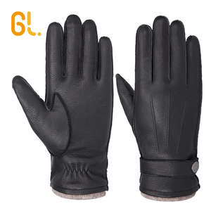 High Quality Custom Men Real Deer Skin Winter Car Driving Leather Gloves