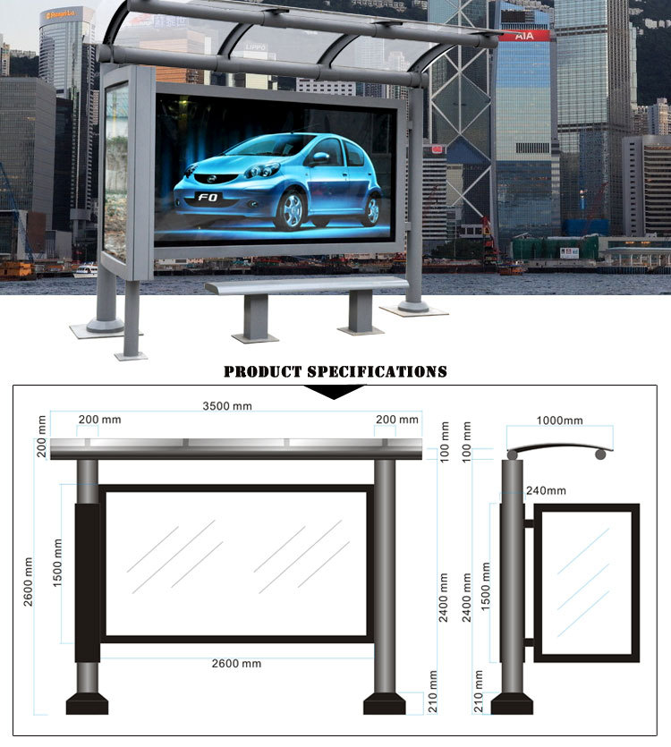 Metal Structure Glass Panel Bus Stop Shelter Glass Panel
