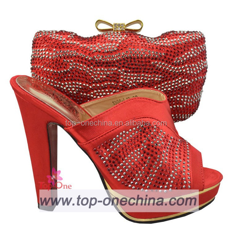 2015 high heel shoes and bag/ red party shoes