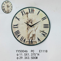 Factory cheap vintage round metal wall clock 30cm size for home decor