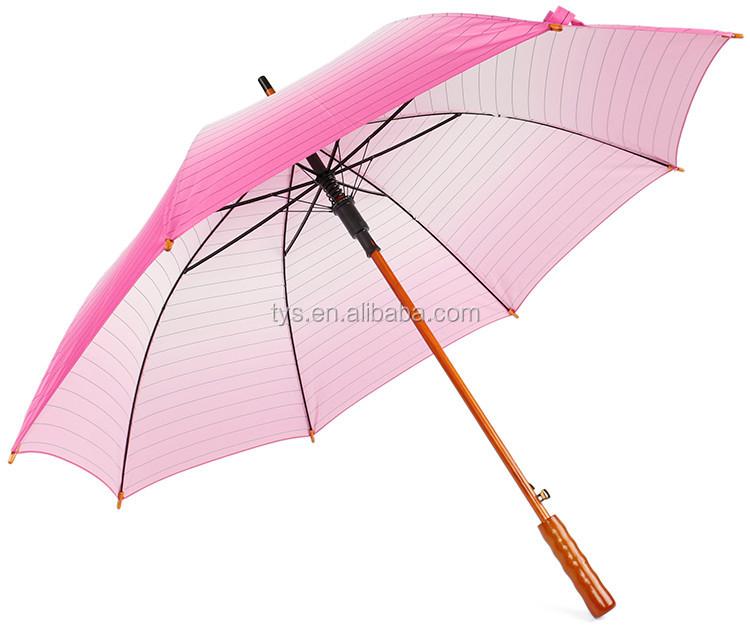 Heat Transfer Printing Straight Adult Wooden Handle Umbrella