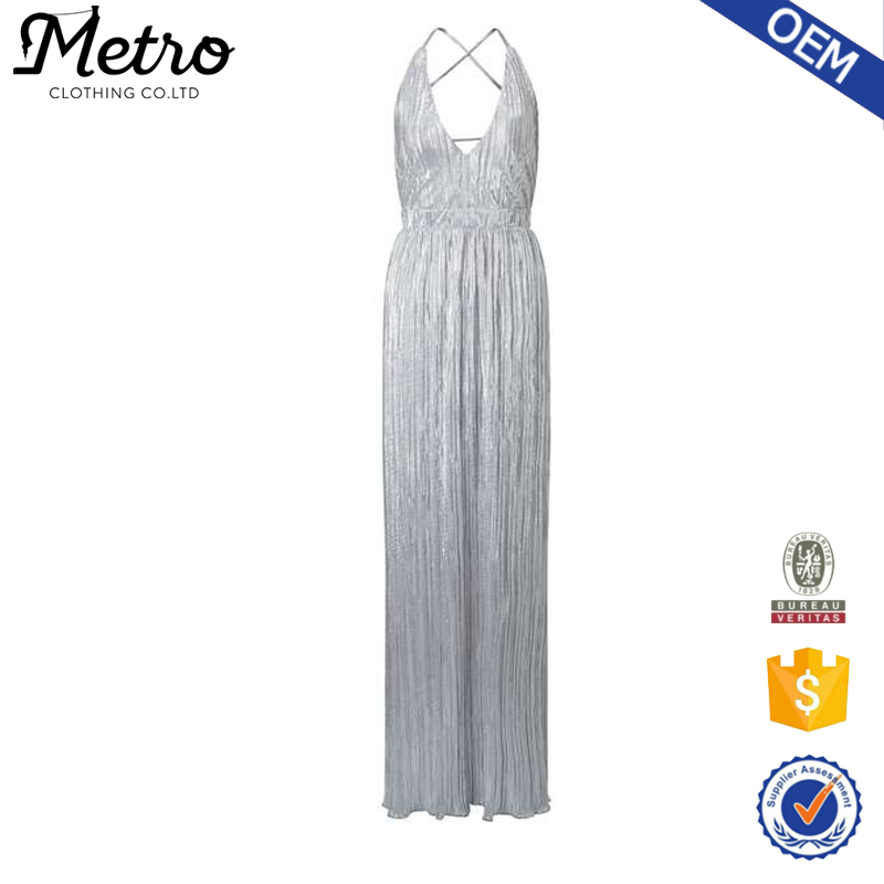 Factory Stretch Fabric Silver Plisse Summer Maxi Dresses