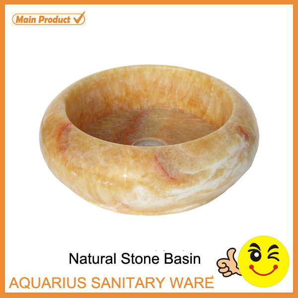 Bathroom Round Yellow Onyx Marble Wash Basin