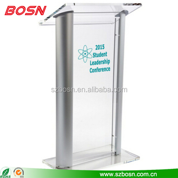 Factory Direct Sale Acrylic Plexiglass Lectern Pulpit With Aluminium Stands