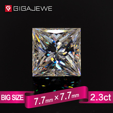 GIGAJEWE Excellent Quality Big Size Cut White IJ Color 2.5ct Princess Cut Moissanite Loose Stone Synthetic Diamond For Jewelry