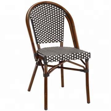 Çevre dostu malzeme ucuz açık plastik kamışı sahte bambu Metal hasır koltuk sandalyeleri