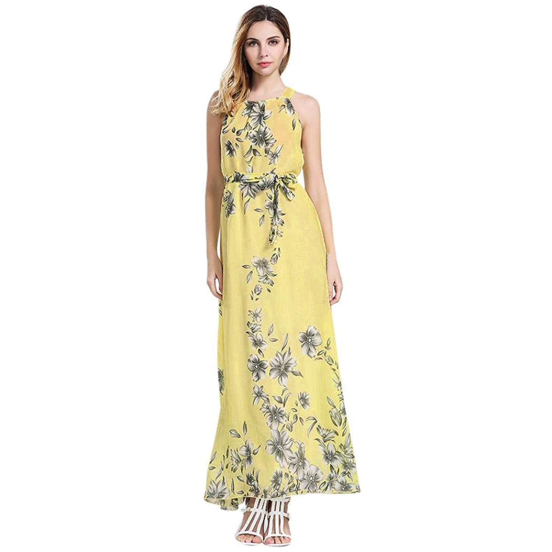 Hot Sale!!Womens Summer Sleeveless Boho Floral Print Chiffon Beach Long Maxi Dress Floor Length Dress
