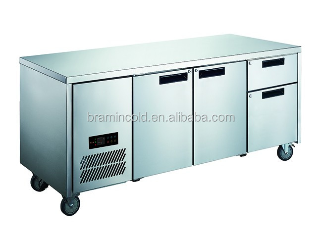 Transparent Door Fridge / Undercounter Chiller / Four Glass Door Workbench Refrigerator