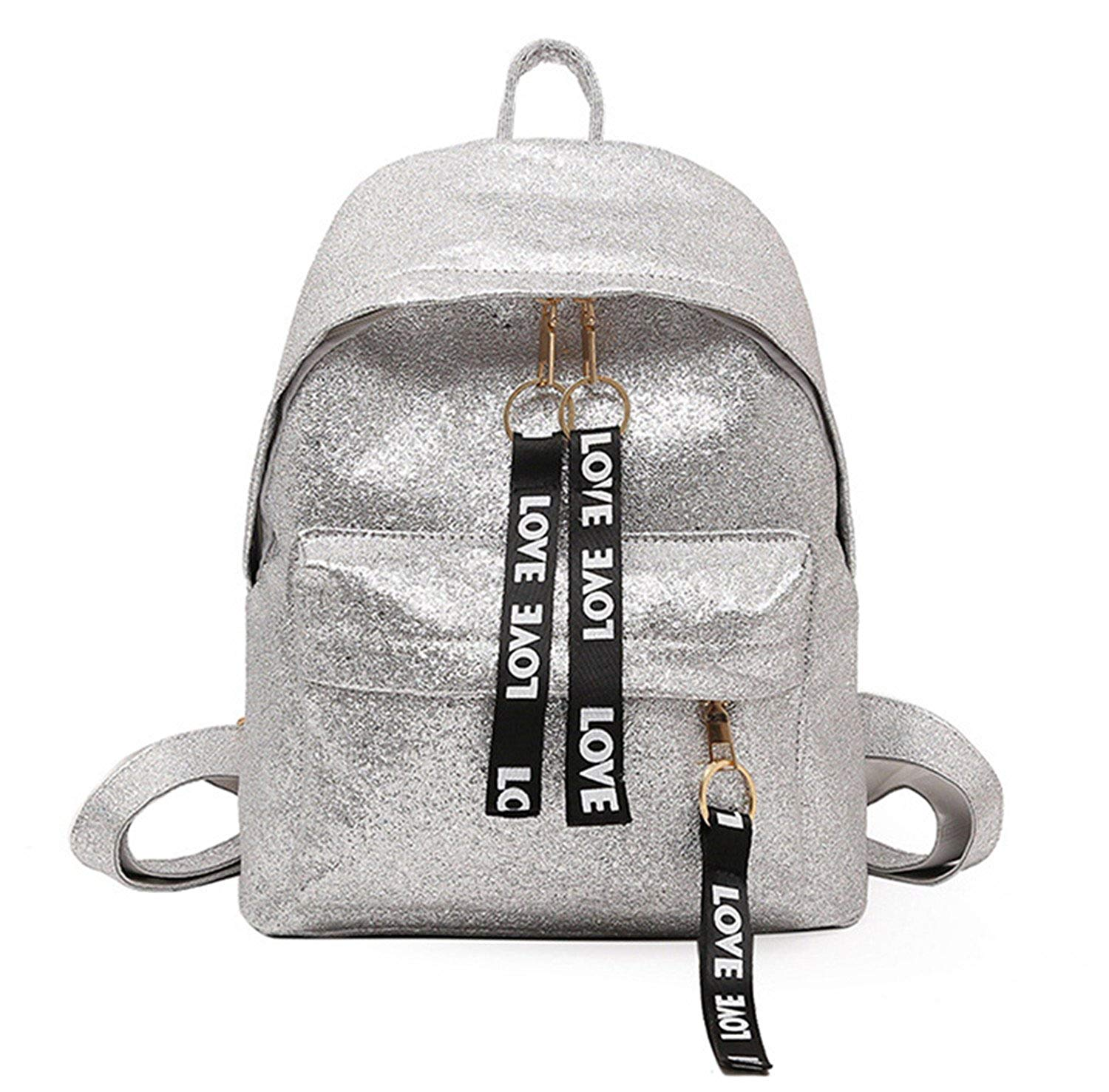 9500130c90 Get Quotations · Gold Shiny Backpack With Letters Ribbons Zipper Women S  Flash Leather Backpack Ladies Small Rucksack