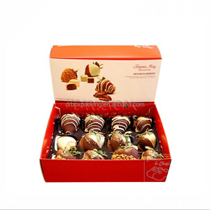 Ribbon Decorated Elegant Color Chocolate Paper Box With Dividers