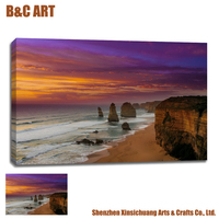 Stretched Canvas Painting Seaside Beach Landscape Print Fabric for Wall Decor