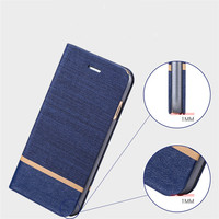 2016 New Arrival Canvas+Jean PU Leather Wallet Cell Phone Cover Flip Card Slots Case for lg g3