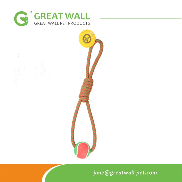 Custom Colored Tennis Ball with Braided Cotton Rope Pet toys