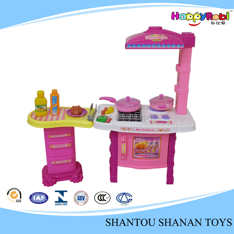 Hot sale play house toy barbecue kids kitchen set with light and sound