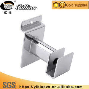 Support Square tube metal slat wall chrome security display bracket for rod tube bar holding