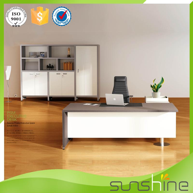 Popular White Wooden Office Table Modern Design Executive Ceo Desk