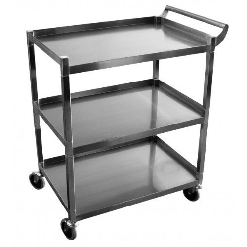 """Stainless Steel Solid 3 Shelf 1"""" Tubular Utility Cart w/ 5"""" Swivel Casters NSF Approved (26 1/2""""L x 15 1/2""""W x 34""""H)"""