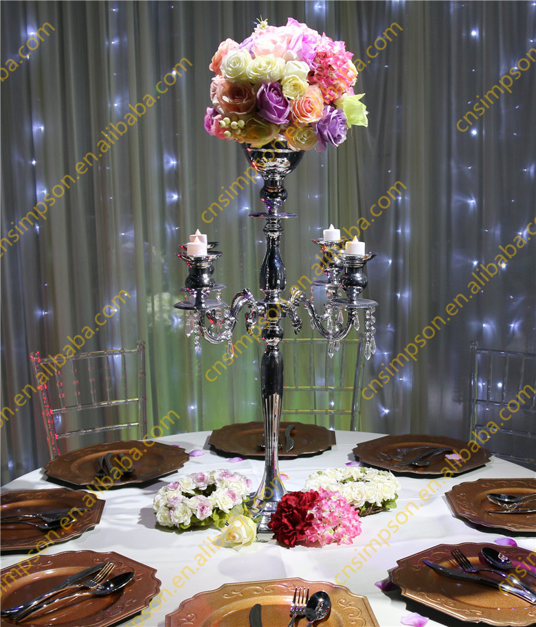 5 Arms Silver Wedding Centerpieces Candelabra With Flower Bowl Buy