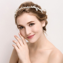 HB0072 JN White silky Hair Clip flower pearls crystals beaded Bridal Wedding lace Tiaras And Crowns Bridesmaids
