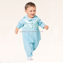 baby boy baptism outfit photos infant clothes produce long sleeve romper satin cotton smart blue jumpsuit with mock vest