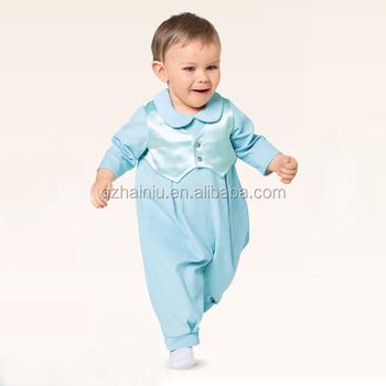 28d2ef9600780 Bébé garçon baptême tenue photos vêtements pour bébés produits à manches  longues barboteuse satin coton bleu
