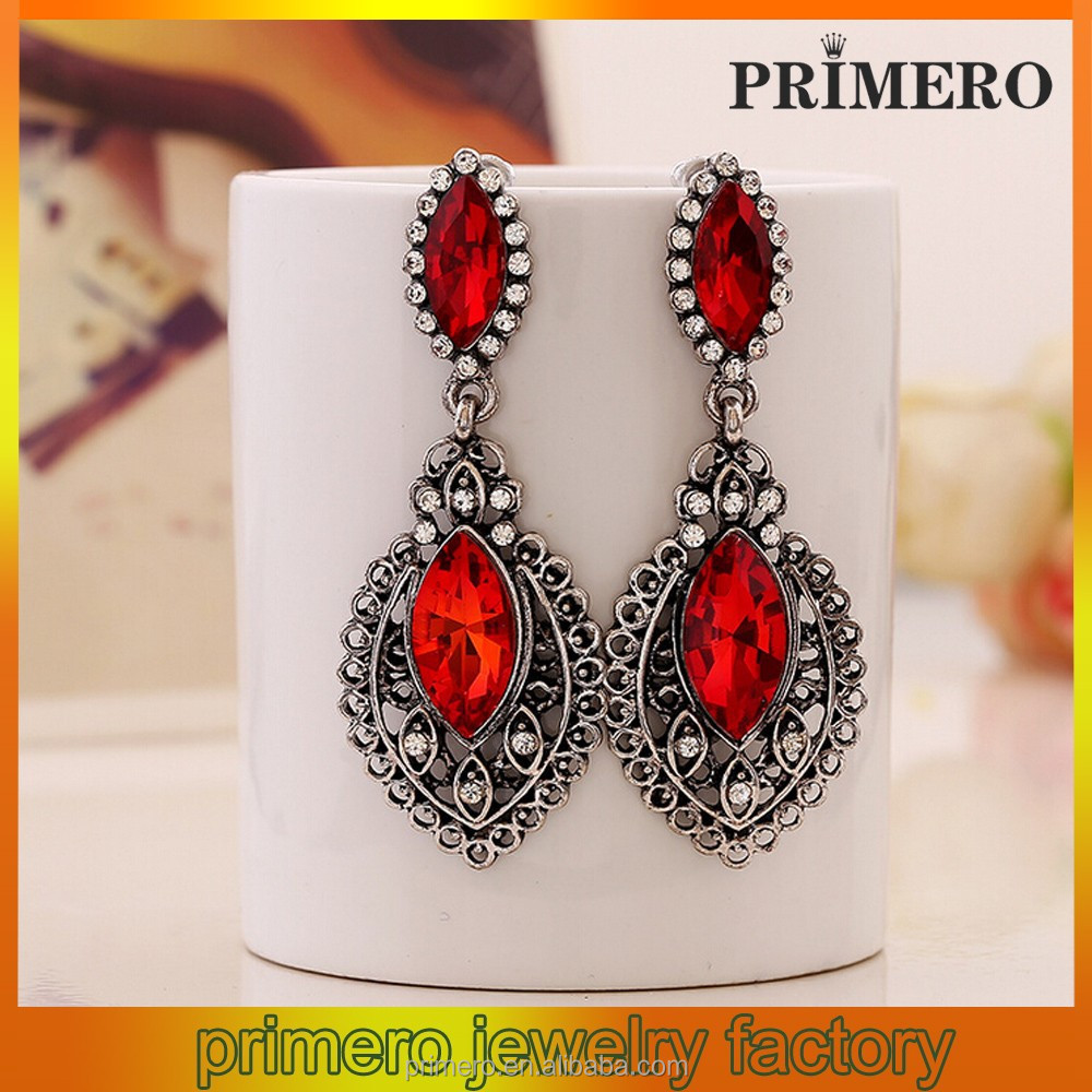 new fashion Red Wine Crystal drop Earrings with Silver alloy frame Fashion Handmade Jewelry