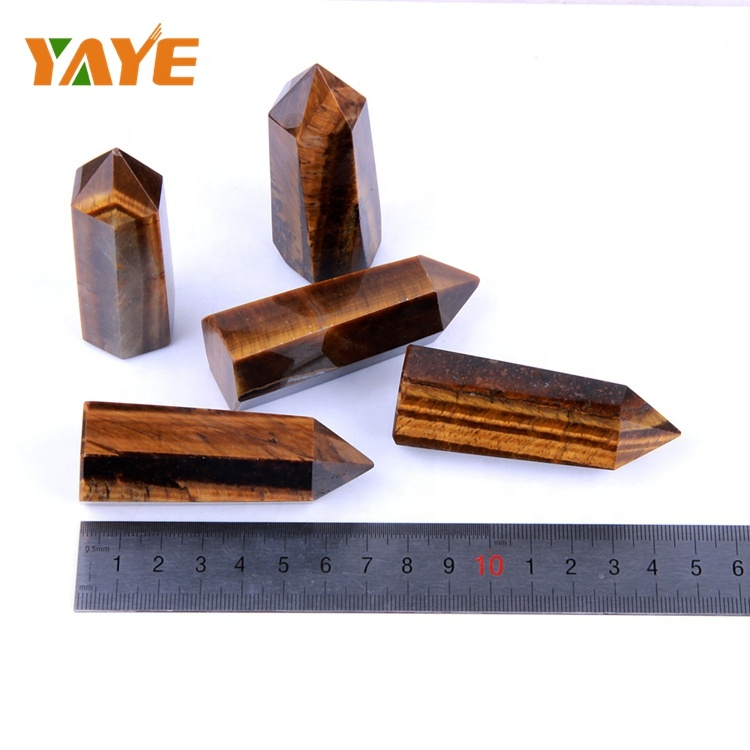 Wholesale Natural Tiger Eye Crystal Wands Religious Crystal Reiki Healing Ponits/Sticks