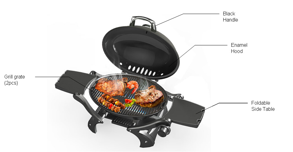 Yellow Round Small Gas Portable Barbecue Grill With 2 Folding Tables