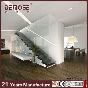 Modern Walnut Wood Stair Tread Glass Railing Stairs