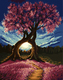 GX8326- 40*50 Hot Selling Handmade Canvas Wall Art Decoration Beautiful Natural Tree Scenery Oil Painting Picture