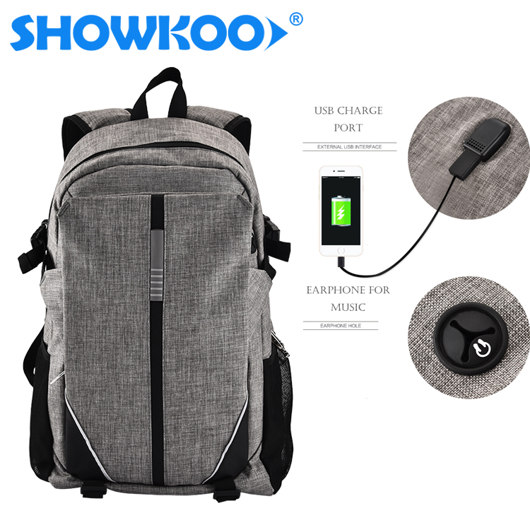 2018 Men Travel Outdoor Sports Black Grey USB Charging Bags Laptop Smart Backpack with USB charger, Earphone Outlet