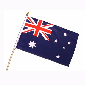 eco-friendly Australia hand flag with wooden sticks