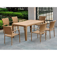 2016 Professional factory cube teak wood dining table synthetic rattan chairs outdoor furniture