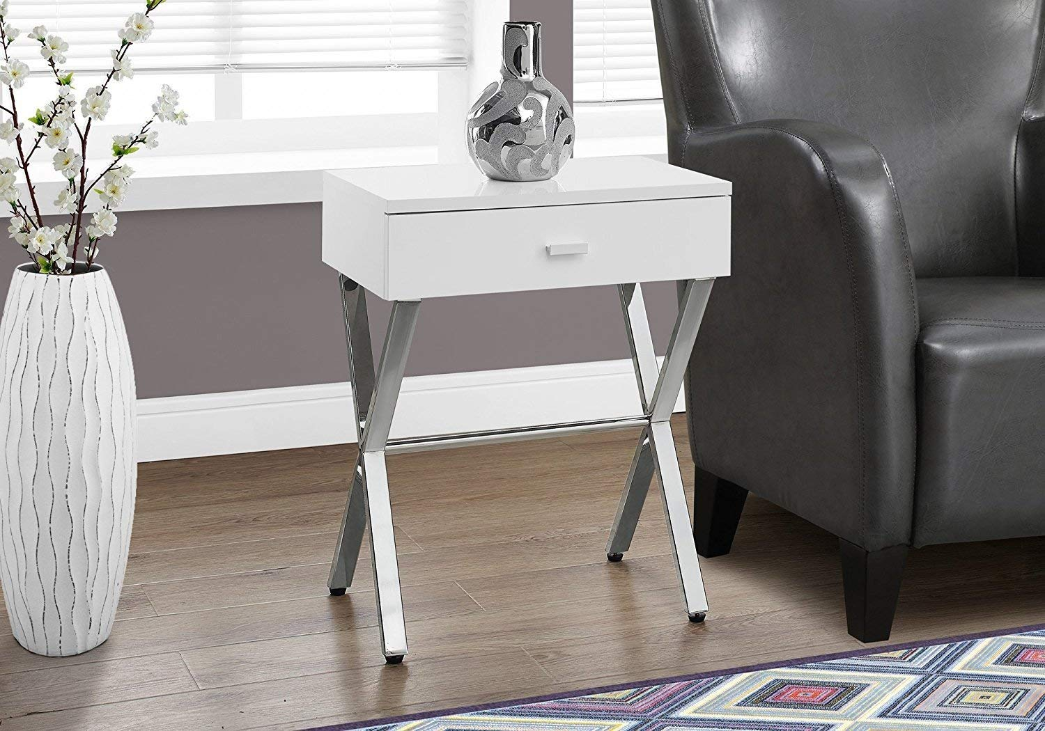 Indoor Multi-function Accent table Study Computer Desk Bedroom Living Room Modern Style End Table Sofa Side Table Coffee Table White Accent Table