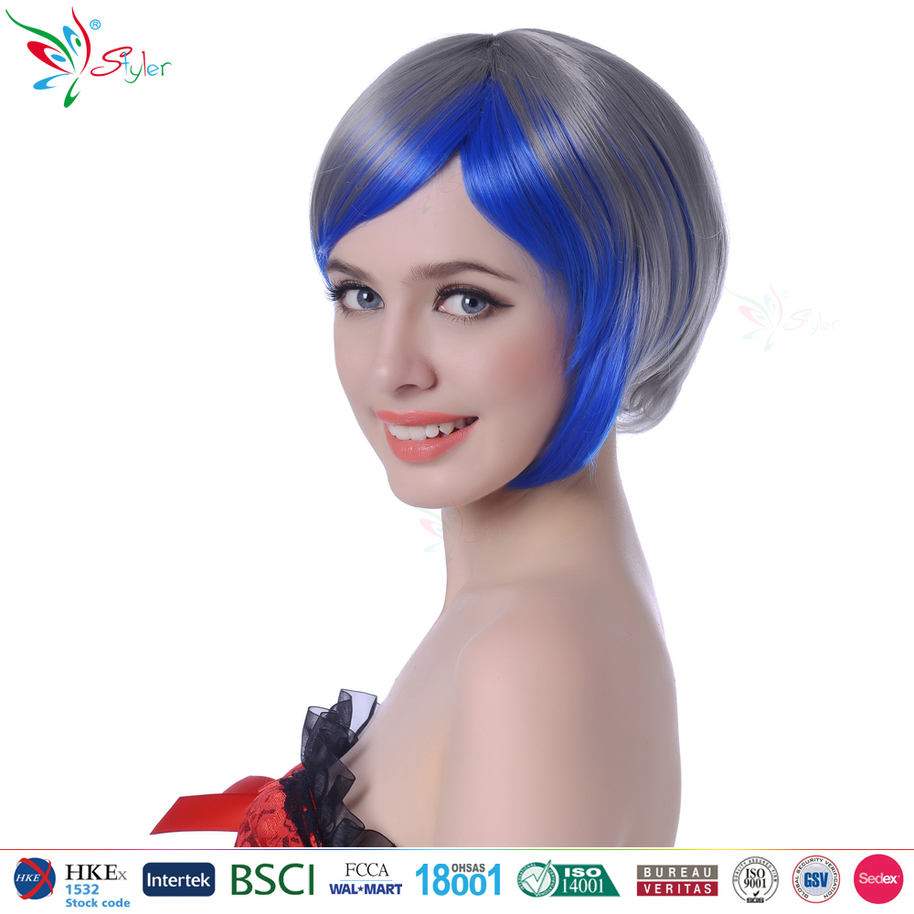 Styler Brand hot selling style synthetic fibre cheap colorful short bob wig
